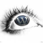 WordPress logo plastered on an eyeball