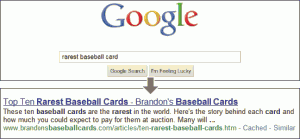Screenshot showing a Google query for rarest baseball cards