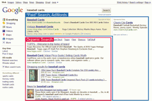 Screenshot of Google search results page showing paid and organic listings.